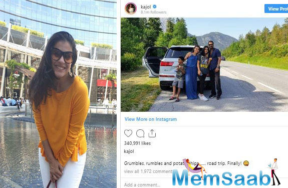 Recently, Kajol took to her Instagram handle and shared an adorable picture with her family including husband Ajay Devgn and both kids Yug and Nysa.