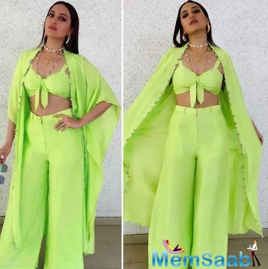 Sonakshi Sinha makes a splash with her Neon outfit.