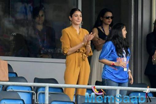 Wearing a mustard top and matching pants, the actress looked absolutely beautiful. Not to forget, India won the match with 7 wickets!
