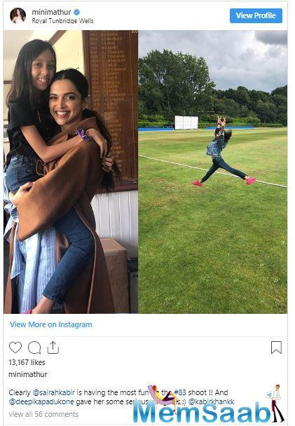 Recently, Kabir Khan's wife, host-actress Mini Mathur, shared a photo collage on Instagram that features her daughter Sairah hanging out with and getting some 'serious girl goals' from Deepika Padukone.