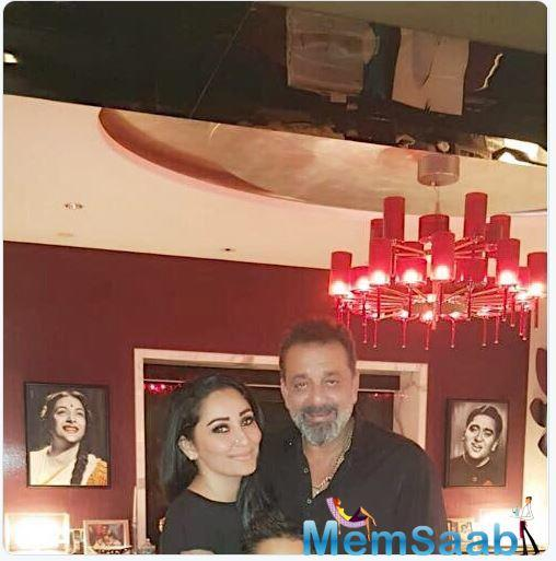 On the background wall are photographs of Sanjay's late parents and actors Sunil Dutt and Nargis Dutt, who were a huge support system to him in his tumultuous life.