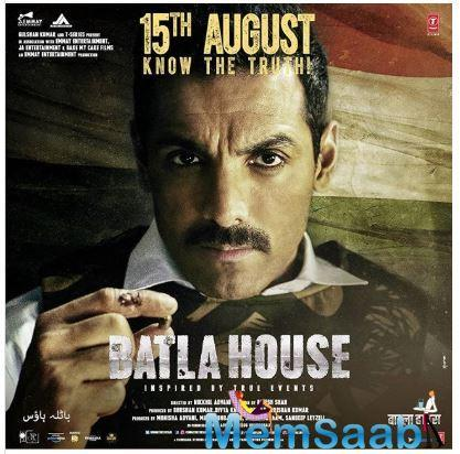 In the poster, John can be seen in his character role of Sanjeev KumarYadav who reportedly initiated the Batla House encounter. Holding a bullet in his hand, the actor poses with a grim look on his face.