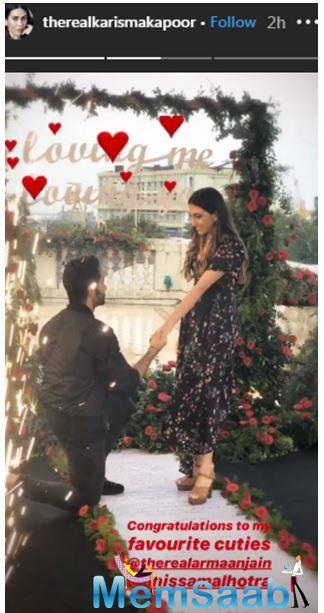 The groom-to-be is all elated to pop the question and tie the knot with the love of his life. Karisma Kapoor shared another post which shows happiness and love between the duo.