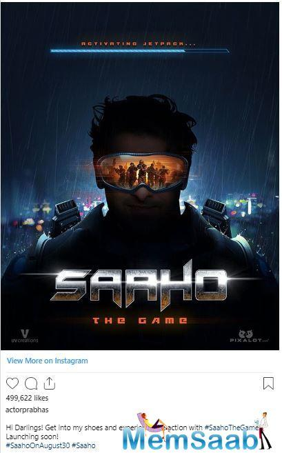 'Saaho' is a high octane action thriller which is presented by T-Series, produced by UV Creations and directed by Sujeeth and is set to hit the theatres on August 30, 2019.