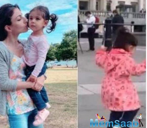 Thanks to social media, all of Inaaya fans have been treated to a series of pictures and videos on social media of the cutie patootie, and while in one picture, Inaaya is trying to touch a massive lion statue at the famous London square,