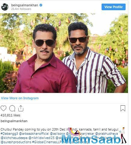 Dabangg 3 is all set to hit theatres on December 20, 2019. The film will be released in four languages - Hindi, Kannada, Tamil and Telugu.