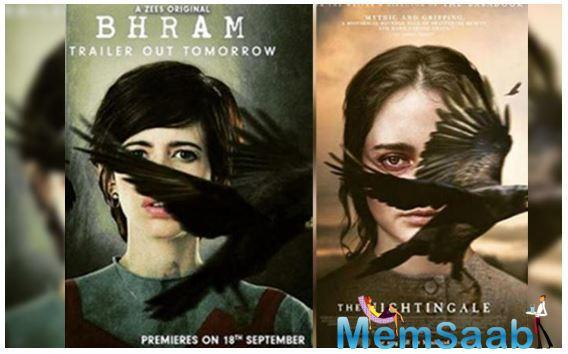 The Bhram poster with Kalki's face also has a blackbird taking flight and covering her visage.