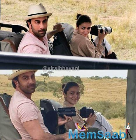 The picture that has surfaced online shows Ranbir Kapoor and Alia Bhatt pose for the lens, where the duo is seen holding cameras.