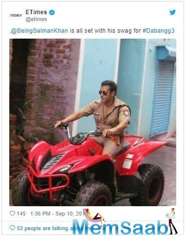 Meanwhile, Salman's fans recently celebrated nine years of 'Dabangg' over social media by sharing dialogues, posters and more from the film.