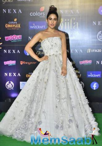 Sara Ali Khan looked like she was out for prom in her beautifully-crafted, off-shoulder white ball gown.
