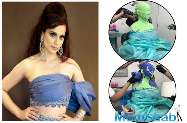 Sister Rangoli Chandel shared the pictures on her Social Media where we can see Kangana Ranaut fully covered in prosthetic glue for her tests, which she must have kept for a long time for the team to have a set to check and work upon.
