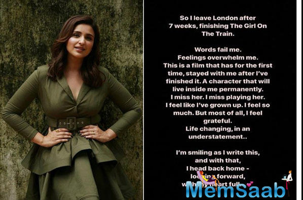 Parineeti Chopra has been on a digital detox and has been away from the social media till she wrapped up her upcoming film, 'The Girl On The Train'. She has been shooting in London for the movie.