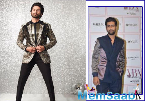 Dressed to impress, Shahid Kapoor turned heads in a metallic suit while Vicky Kaushal opted a dual shade suit.