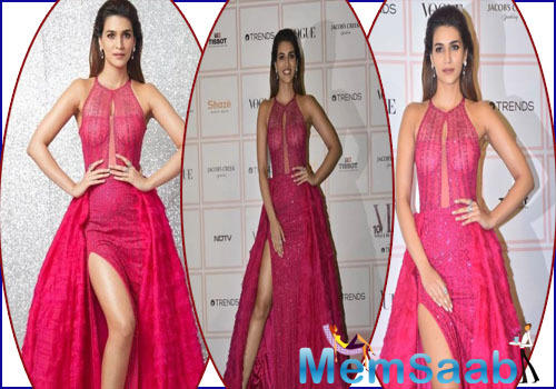 Kriti Sanon, who is all set to give back to back on-screen appearance with numerous quirky projects, opted for a chic fuchsia pink gown by Monisha Jaising.
