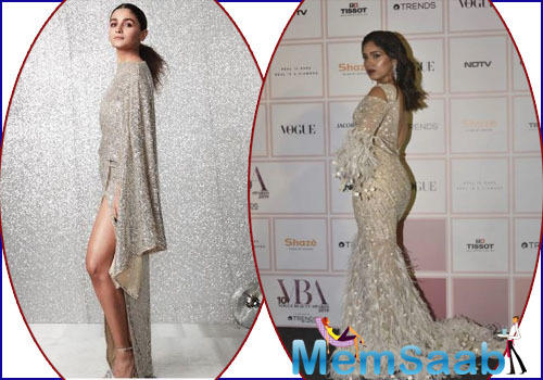 Upping her fashion game, Alia Bhatt shimmered in a flowy sequin outfit by Michael Costello.