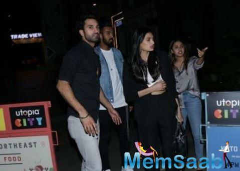 Athiya was dressed in a black outfit while KL Rahul could be seen dressed in a white tee with a denim jacket and jeans.