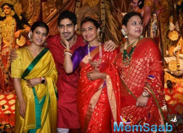 """""""They were chatting happily. Tanisha, Sarbani and Ayan Mukherji were also there, as the five cousins chatted animatedly with each other with the parents blessing all the cousins."""