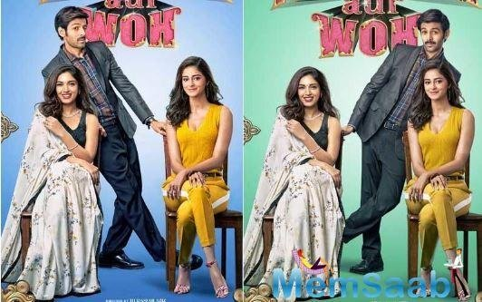 In one poster, Kartik is seeing winking as he poses with Bhumi, his wife who is sitting in a chair in the left and on the other poster,