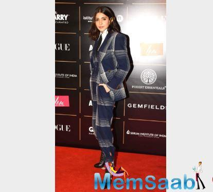 Anushka Sharma, who was last seen in Aanand L Rai's Zero, opted for a blue checkered suit to attend the award ceremony hosted in the city.