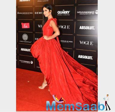 Katrina Kaif opted for a red ensemble to attend the awards ceremony hosted in the city