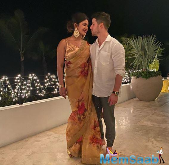 Global star Priyanka shared a series of pictures on her Instagram where the power couple who will be celebrating their first Diwali together, can be seen celebrating the festival of lights with their family and friends.