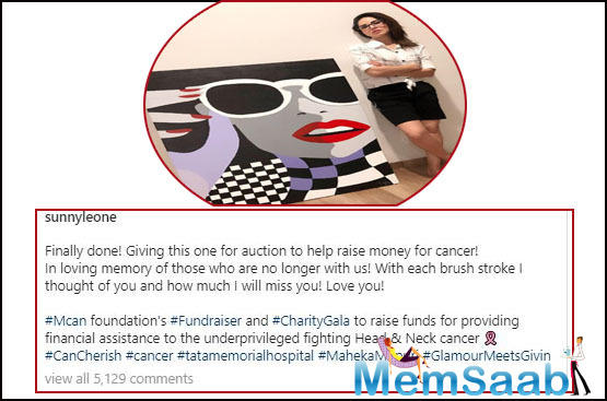Earlier this month, Sunny Leone had taken to her Instagram handle to share a picture of herself along with a piece of art that she had painted for charity auction.