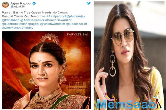 Kriti plays the role of (Arjun Kapoor) Sadashivrao Bhau's wife Parvati Bai in this Ashutosh Gowarikar's ambitious project.