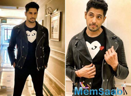 The 'Student of the Year 2'actor opted for an all-black look. He sported a black t-shirt and matching a leather jacket. The actor struck some cute poses for the camera. He captioned the post as, ''Haaye main Marjaavaan ''.