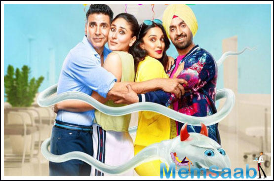 The new poster follows a similar colourful theme as the earlier ones. Dressed in vibrant clothes, the actors can be seen sharing a group hug while they are being huddled by a sperm.