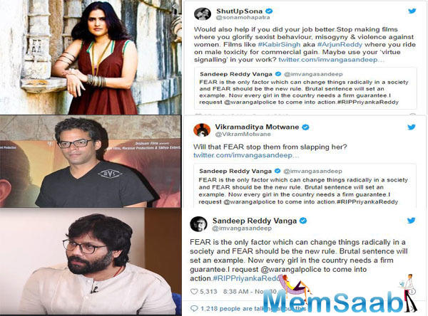 This did not go down well with Twitterati including celebrities like Udaan director Motwane and singer Sona Mohapatra. Reacting to Vanga's tweet, Motwane wrote,