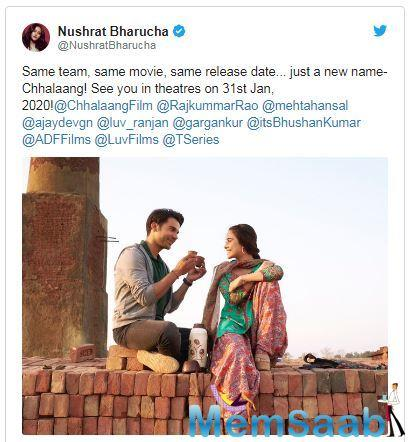 The upcoming Rajkummar Rao-starrer Turram Khan has been renamed Chhalaang. The films lead actress and Nushrat Bharucha took to Instagram to share the news.