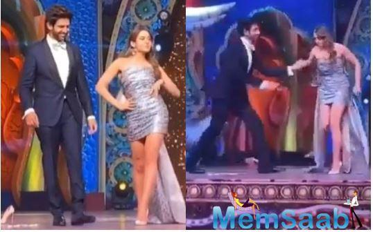 In the video that has made it to the internet, we see Kartik and Sara on stage while the song is playing in the background.