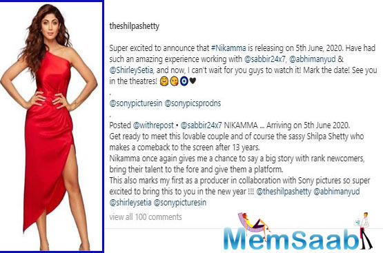 Shilpa took to her Instagram to share the piece of news,