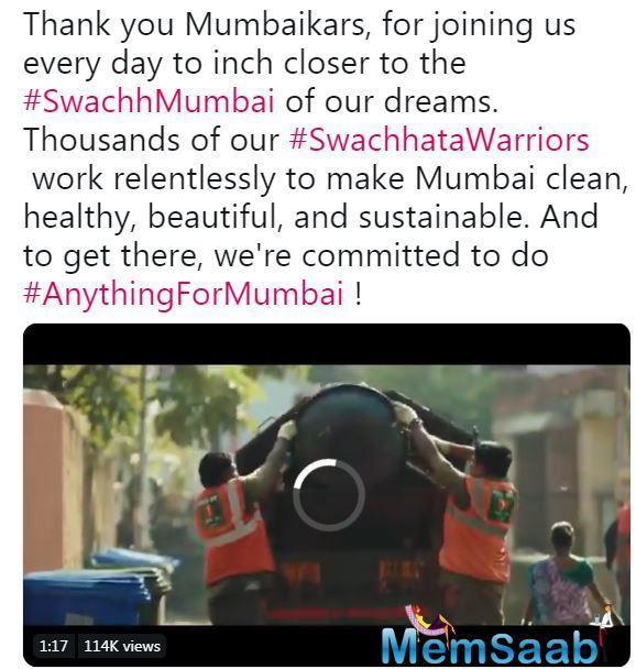 The video is originally shared by the BMC, thanking Mumbaikars as well as the Swachchta Warriors, who play a pivotal role in 'Swachh Mumbai' mission.
