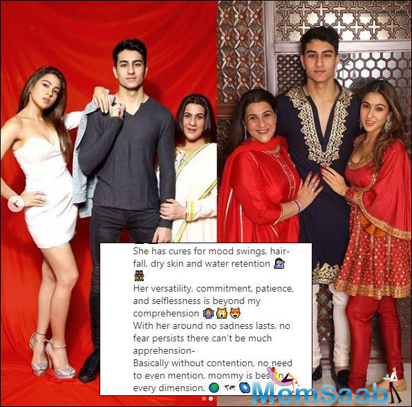 Along with the poem, she attached pictures of her and Amrita in western and traditional attire. Along with it, she also shared two adorable pictures of the duo along with her brother Ibrahim Ali Khan, in two different avatars.
