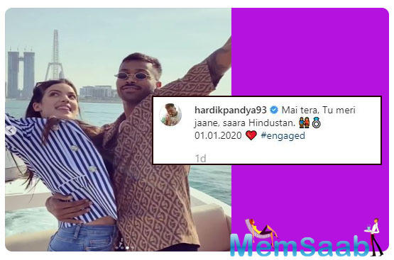 Hardik went down on his knee to propose to his lady love and pictures from their dreamy engagement were shared on social media by the couple.