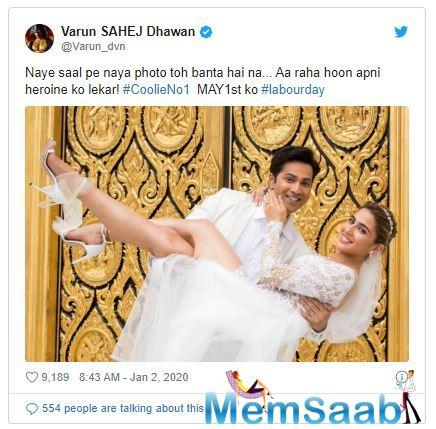 The much intriguing poster shared by the 32-year-old has Varun lifting Sara in his arms, striking for a pose for the click and is all smiles.