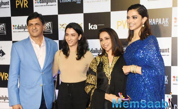 Deepika Padukone and Ranveer Singh's family also arrived at the special screening to support the actress.