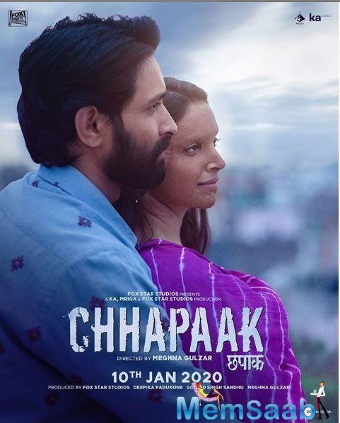 Produced by Fox Star Studios, Deepika's KA Production, Meghna and Govind Singh Sandhu's Mriga Films, written by Atika Chohan and Meghna Gulzar, Chhapaak is a tale of an acid attack survivor who battles against the social evildoers.
