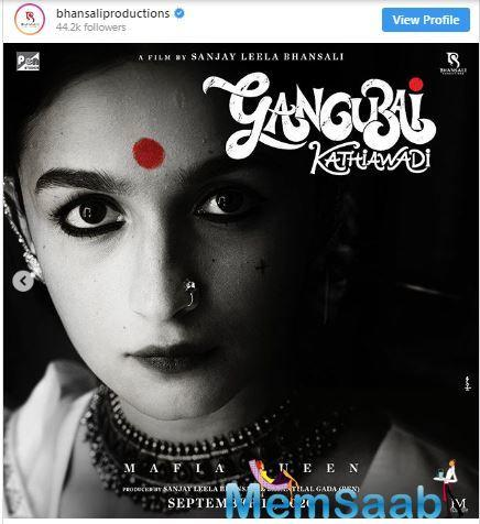 Earlier Alia had shared a glimpse of her upcoming biographical Gangubai Kathiawadi. In the short video, one can see a red dot along with the title 'Gangubai Kathiawadi' along with a message that reads the first lookout tomorrow.