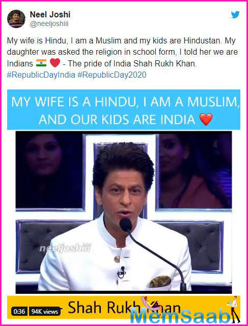 "During his visit to the sets of Dance Plus 5 that was aired Saturday night, Shah Rukh said, ""Humne koi Hindu-Musalman ki baat hi nahi ki. Meri biwi Hindu hai, mai Musalman hoon. Aur mere jo bacche hain, wo Hindustan hain."""