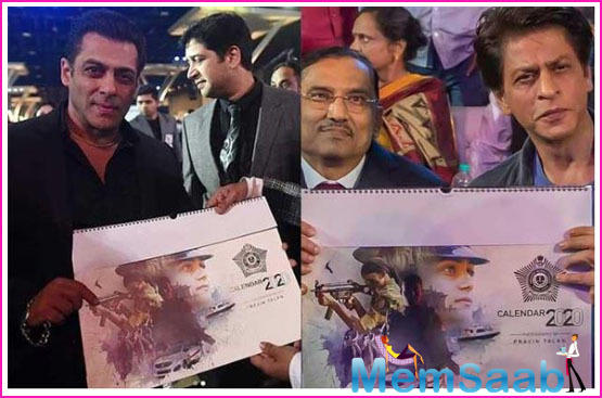 A copy of the calendar was presented to Shah Rukh and Salman at the event, who showed it off with pride and love for the city police force.