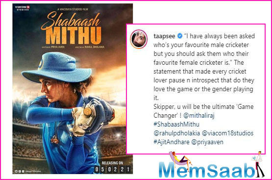 Taapsee will portray the role of Mithali Raj in the film Shabaash Mithu and the actress has just shared the first look poster from the film.