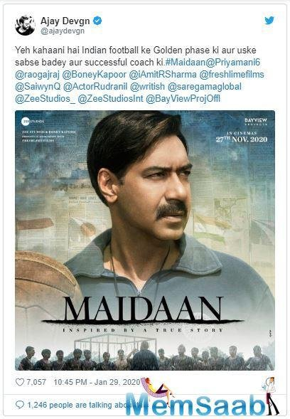 Maidaan is a sports-drama dedicated to the golden years of Indian football. Ajay will be seen essaying the role of the legendary coach Syed Abdul Rahim, who is widely known as the founding father of Indian football.