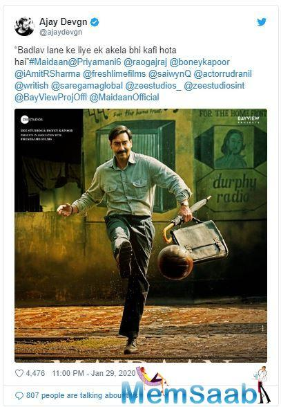 The second poster sees Ajay Devgn, dressed in formals, playing football on the streets.