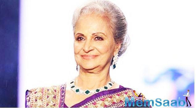 Veteran actor Waheeda Rehman was on Tuesday conferred with Madhya Pradesh government's prestigious Kishore Kumar Award for 2018, an official said.