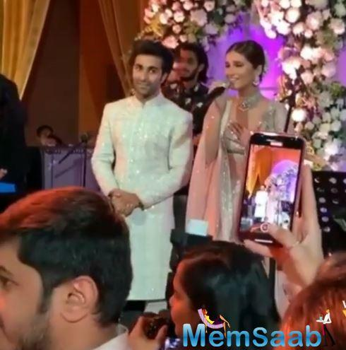 The actress, dressed in a pastel pink lehenga enthralled all, including her rumoured boyfriend Aadar Jain, who is Armaan's brother.