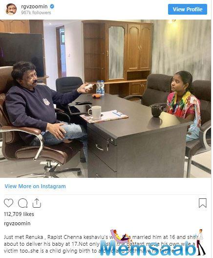 In the next post, he posted a picture with the wife of the man who raped Disha and he said she married him at the age of 16.