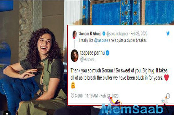 Thanking Sonam, an elated Taapsee replied,
