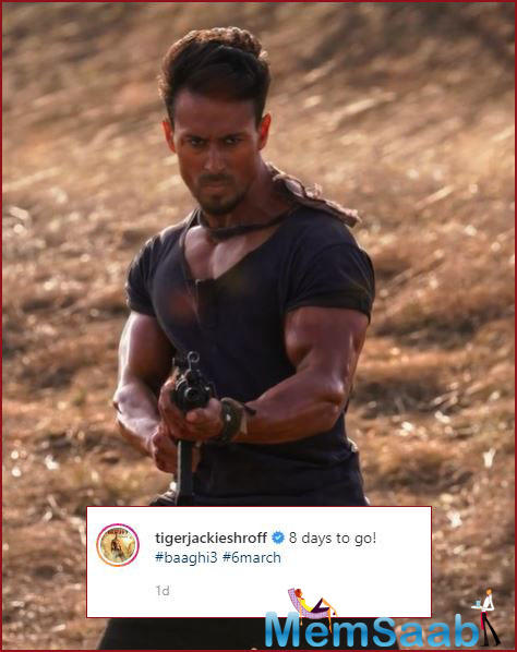 Excited upon the inching release of Baaghi 3, the actor shared a visual of 'Ronnie' to mark eight days to the release.